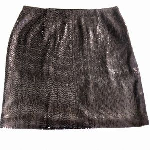 White House Black Market Pewter Sexy Sequin Skirt